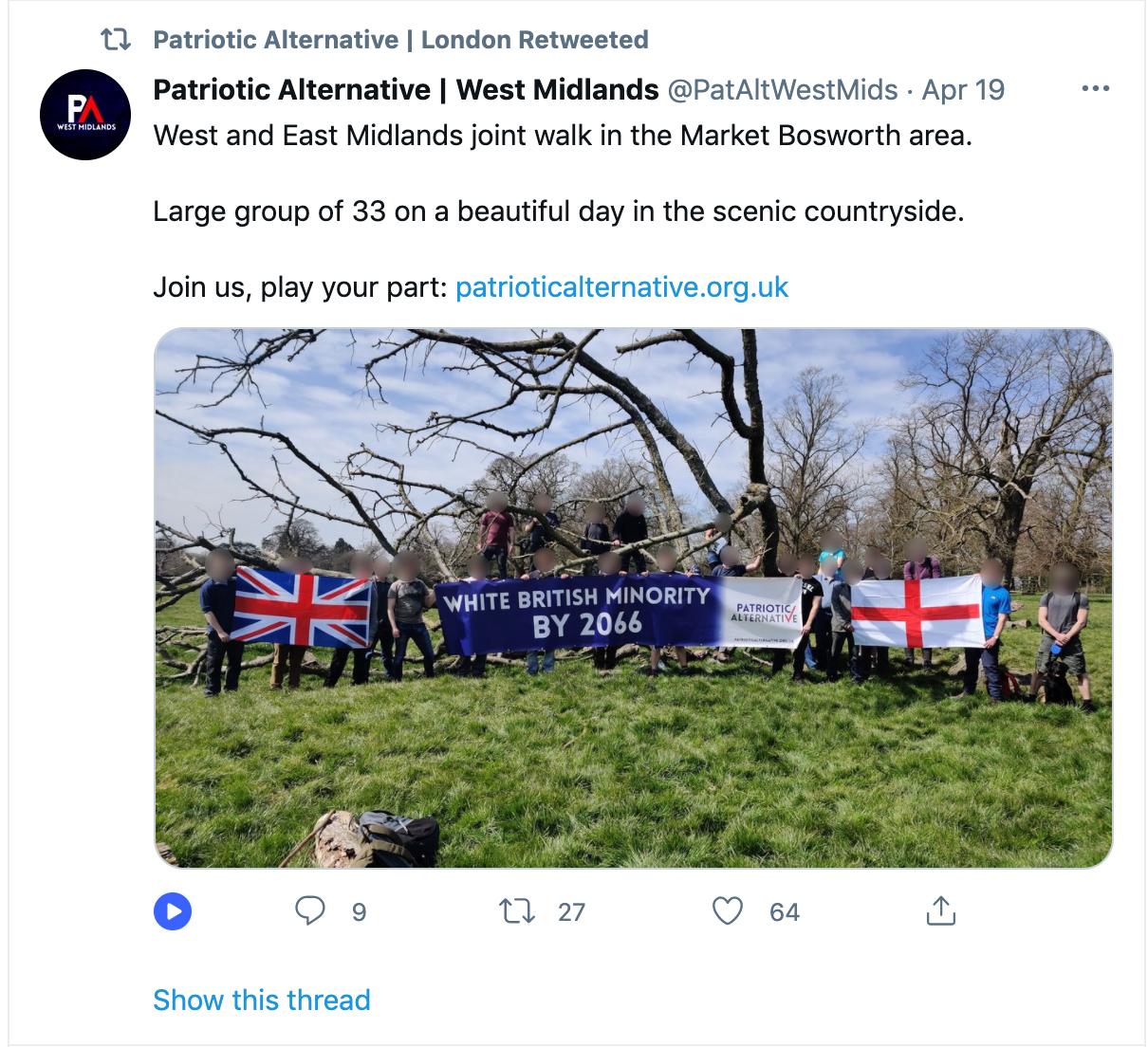 patriotic alternative tweet